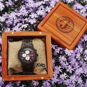 Dark Sandalwood and Burgundy Jord Men's Watch